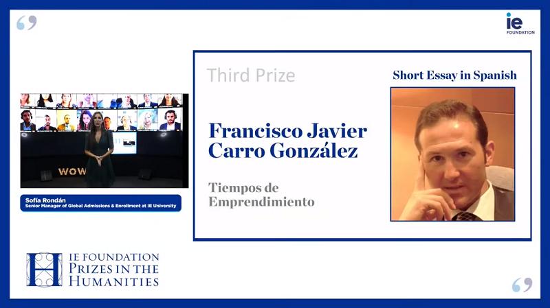 Francisco Javier Carro galardonado en Premios Humanidades 2020